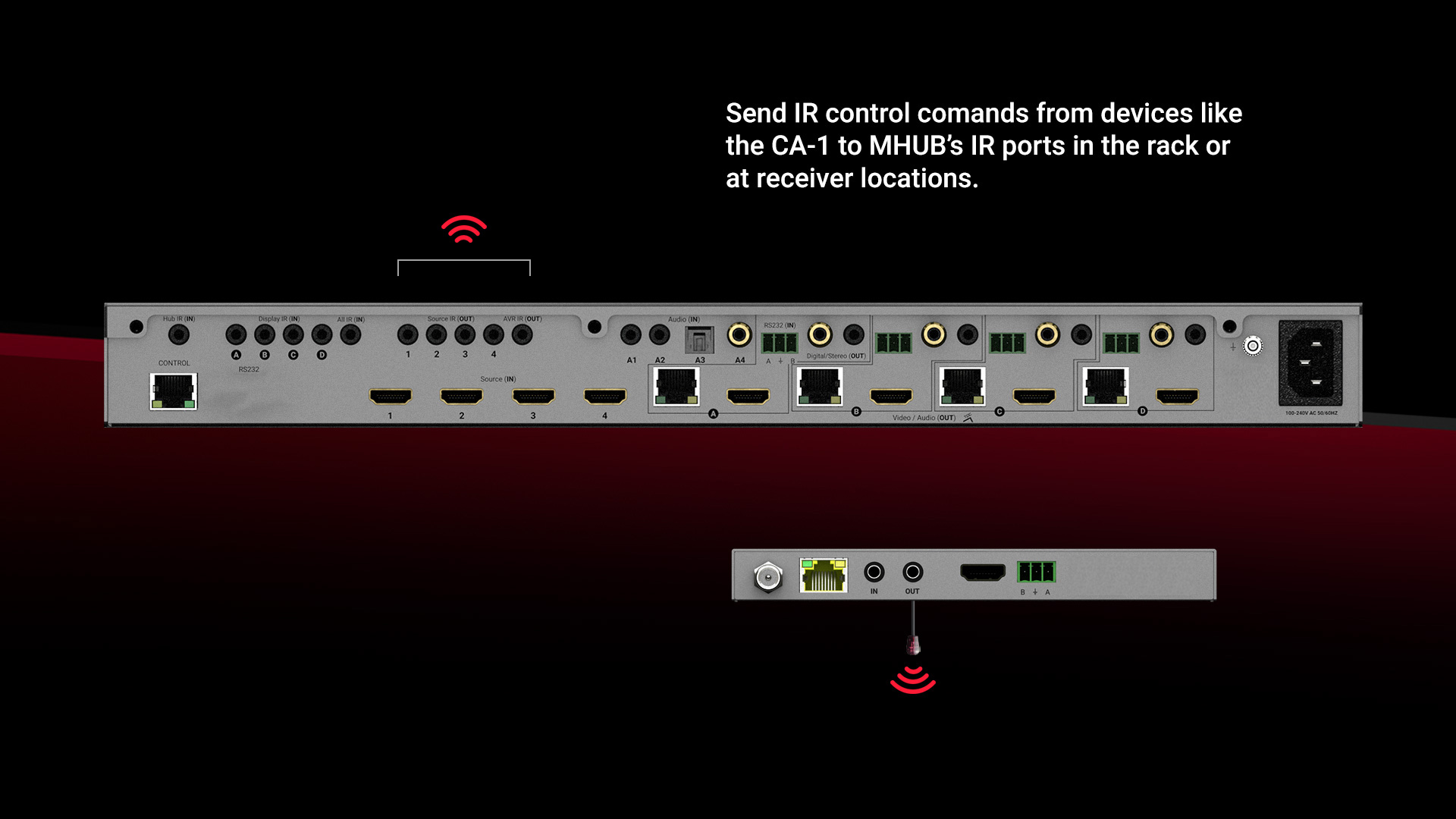 Our Control4 driver allows Control4 the ability to send IR commands directly to MHUB's IR ports