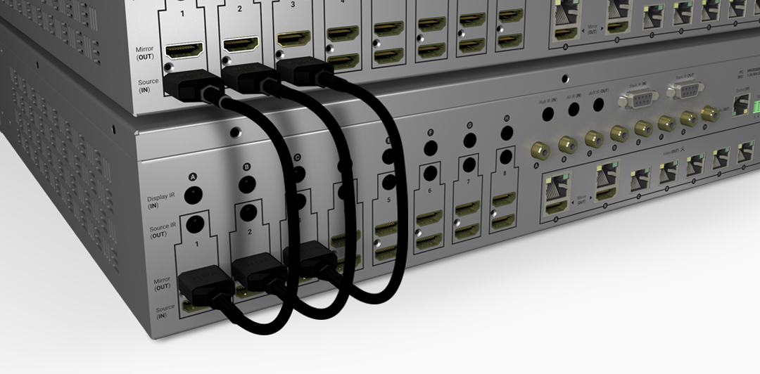 Video distribution up to 32 displays with the stackable MHUB S