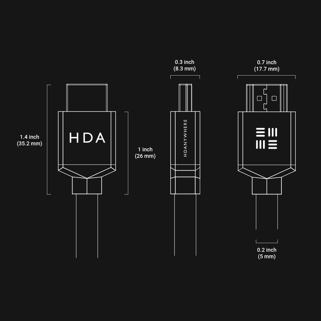 SlimeWire MAX 4K HDMI cable measurements